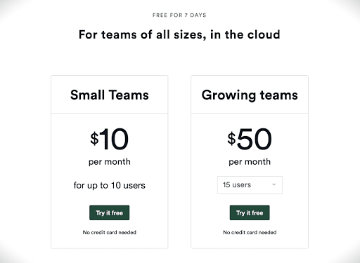 Tiered User Pricing